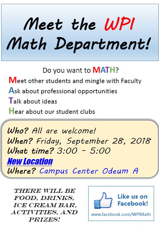 Meet The WPI Math Department September 28
