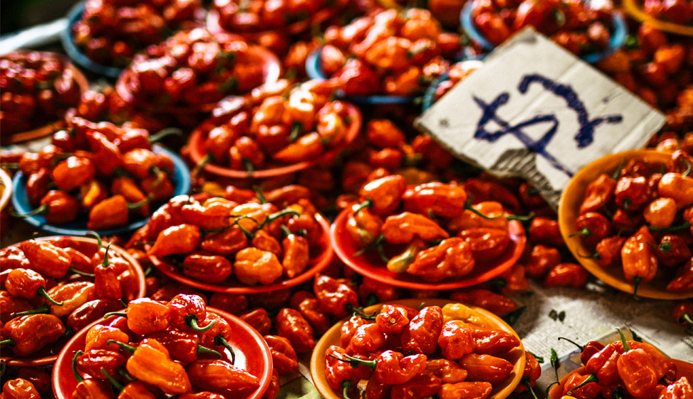 Hot peppers for sale in market