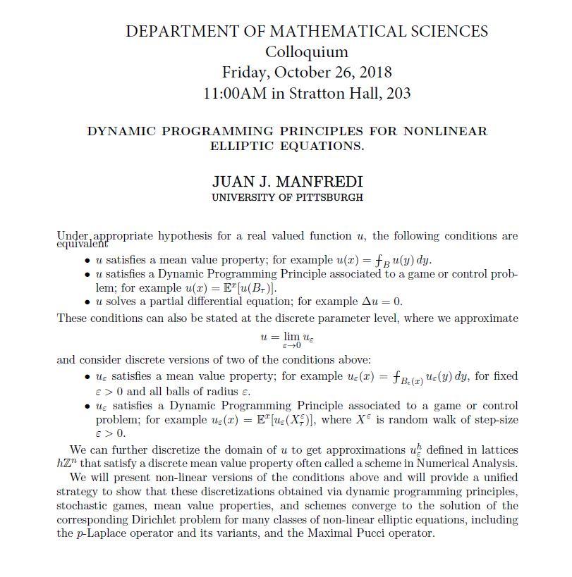 WPI Math Colloquium Juan J. Manfredi