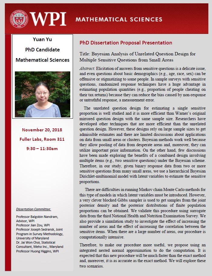 Yuan Yu PhD Proposal