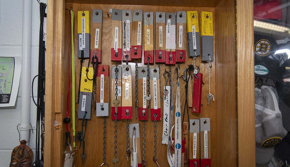 A close-up of the key closet, where keys for the majority of rooms and areas of the Sports & Recreation Center are kept.