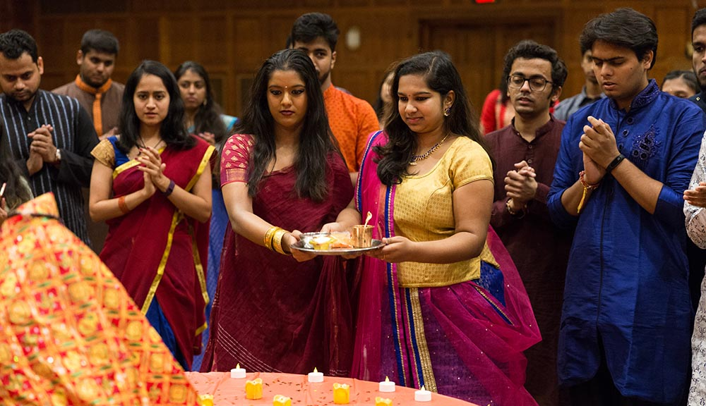 Members of the South Asian Student Association celebrate Rasleela & Diwali.