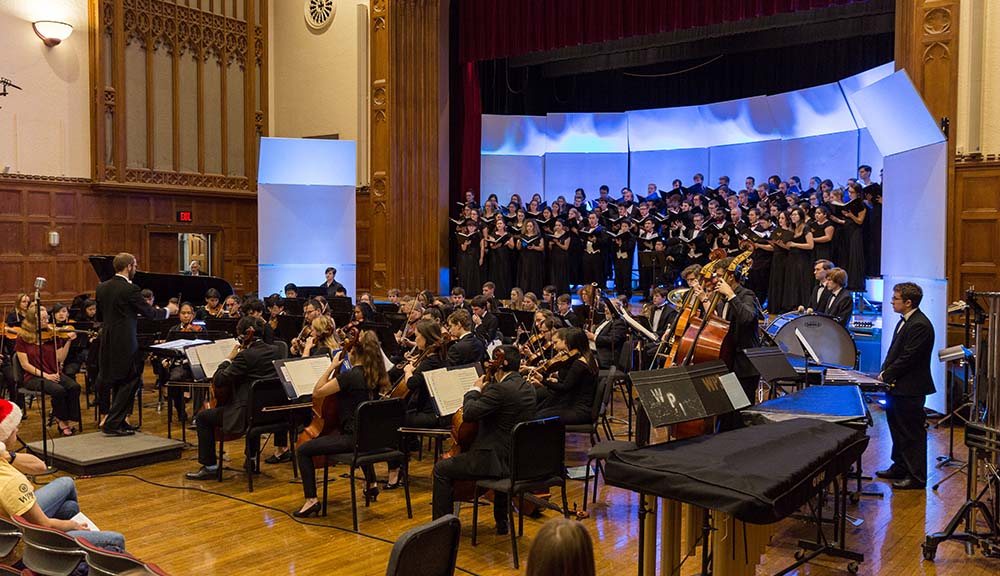 Members of WPI's orchestra perform at the annual holiday concert.