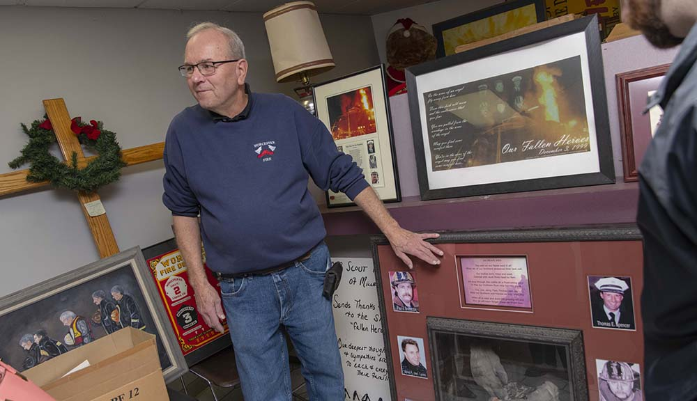 A retired Worcester firefighter shares some of the artifacts and memorabilia from the Cold Storage Fire of 1999.