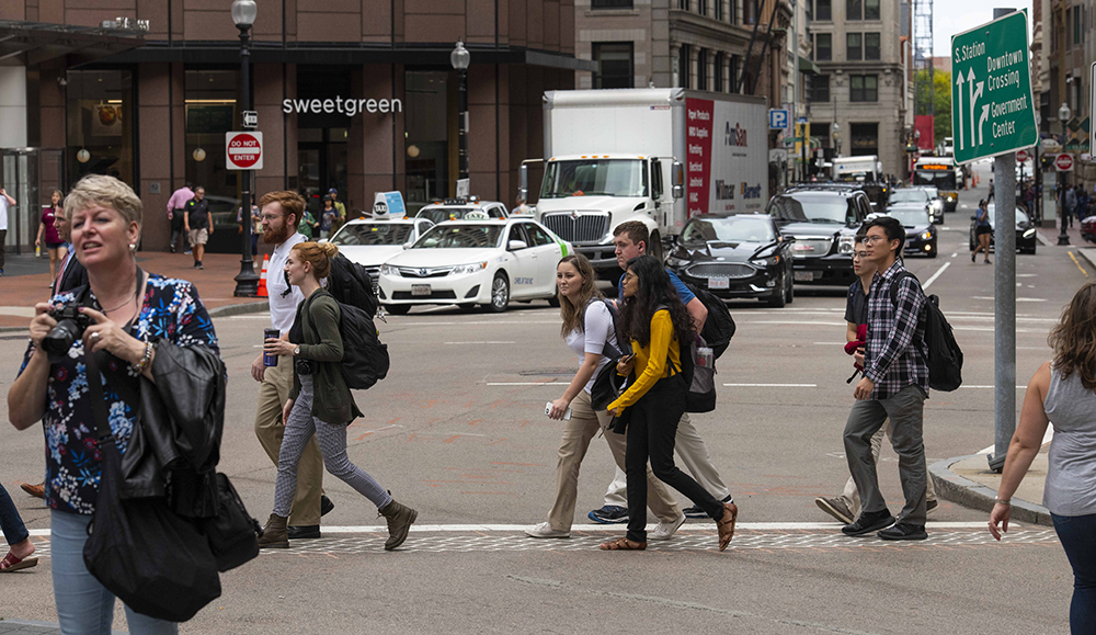 Group crossing the street in downtown Boston