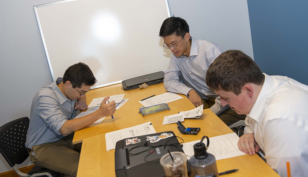 project group working at a table