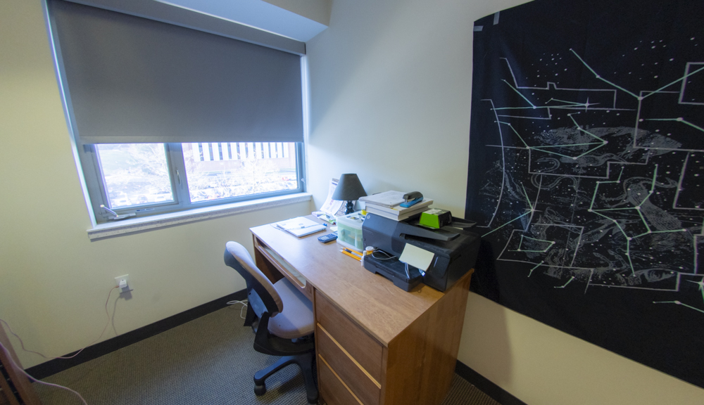 East Hall apartment style 1, bedroom desk side view