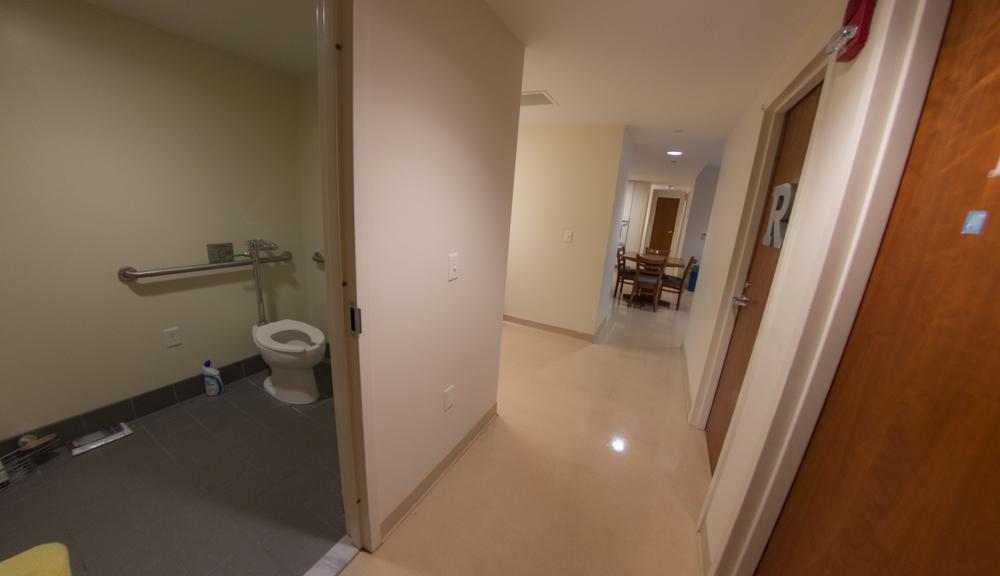 East Hall apartment style 1, bathroom hallway