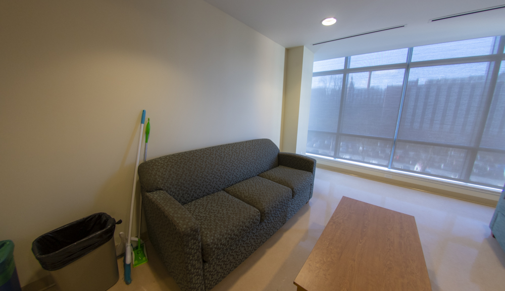 East Hall apartment style 1, living room couch side angle