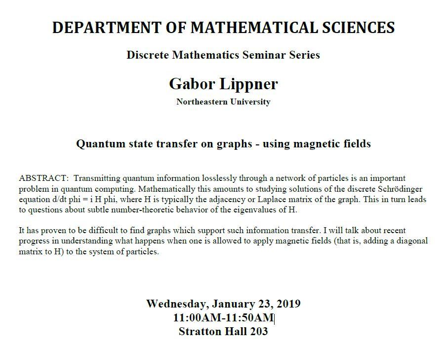 Mathematical Sciences Discrete Mathematics Seminar Gabor Lippner
