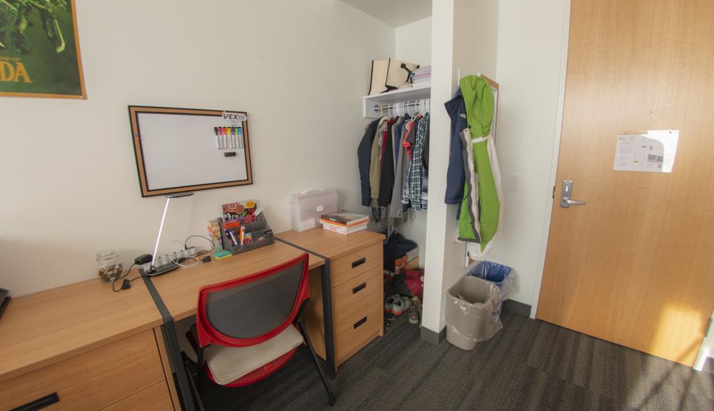 Desk and closet setup.
