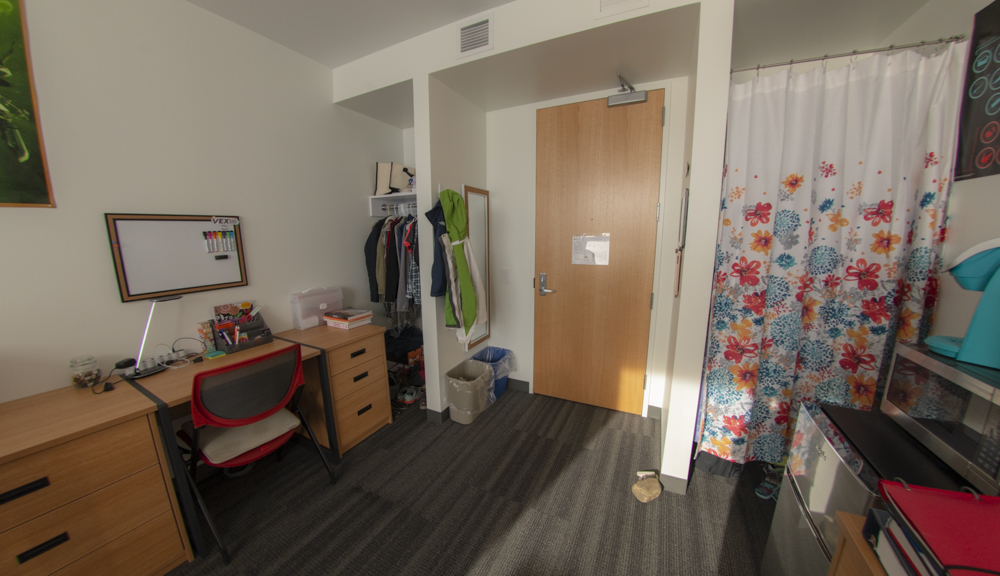 Corner bed view of entrance and closets.