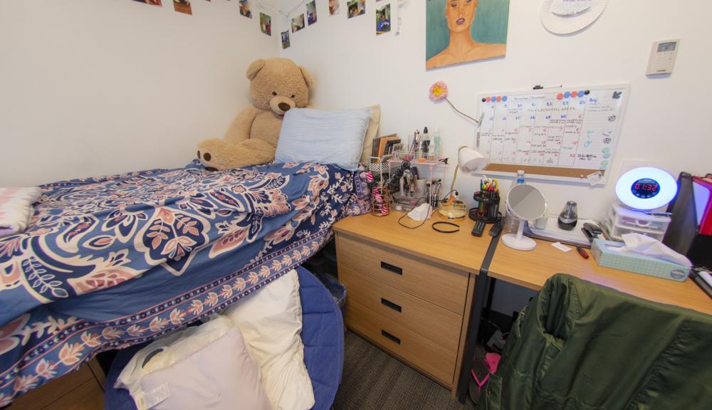 Bed and desk setup.
