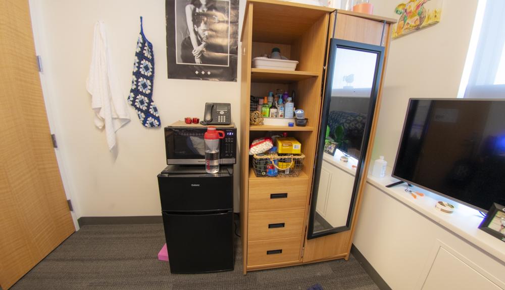 View of closet and dresser setup.
