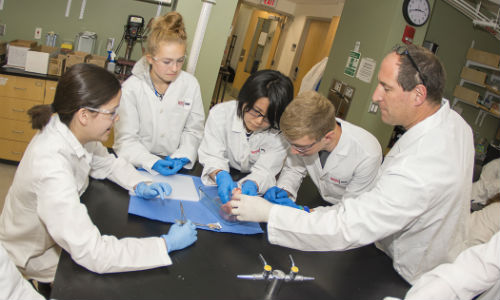 Group of students in a lab setting.