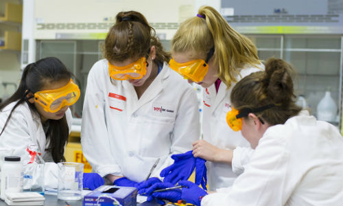 Group of students in lab setting