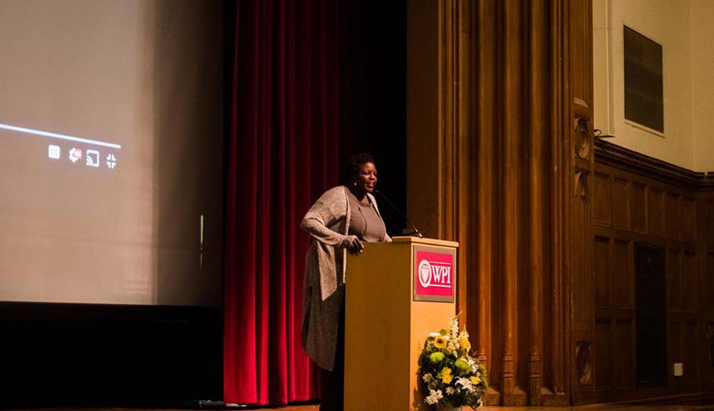 Yoruba Richen addresses the crowd at WPI's inaugural MLK Commemorative Address.
