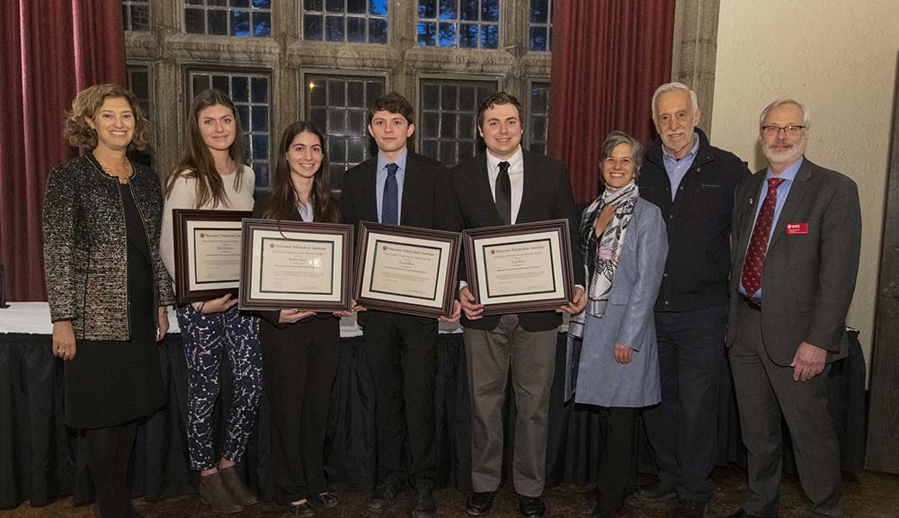 (L-R) President Laurie Leshin, Kylie Dickinson, Sarah St. Pierre, Donald Dione, Tyler Weiss, project advisor Leslie Dodson, Albanian project center co-director Peter Christopher, and IGSD Dean Kent Rissmiller
