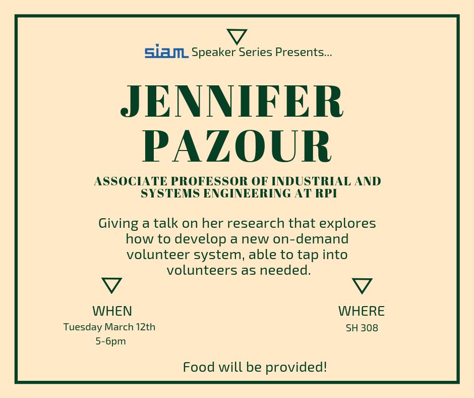 Jennifer Pazour SIAM Speaker Series