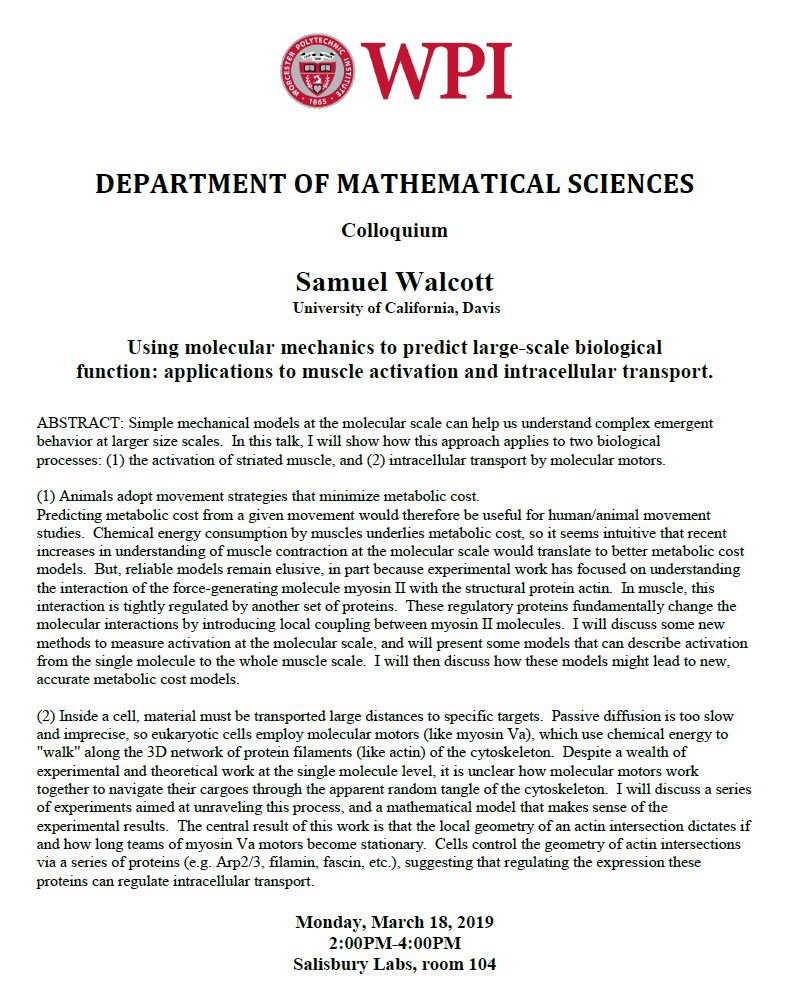Samuel Walcott Colloquium