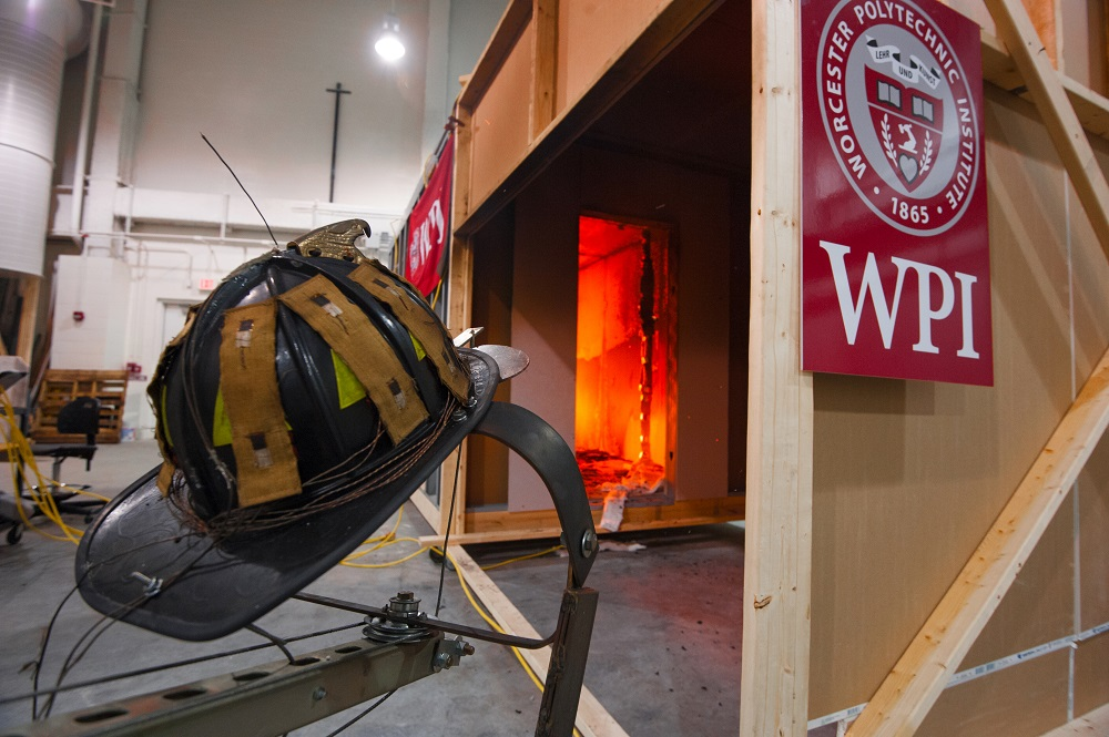 Fire helmet in lab
