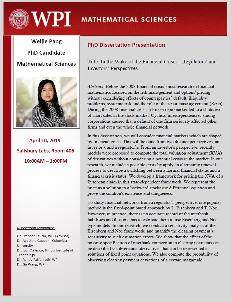 Weijie Pang PhD Dissertation Presentation