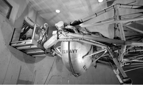 Wally Schirra enters the Navy's Aviation Medical Acceleration Laboratory