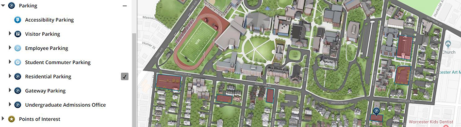 Wpi Campus Map Parking Updates   Interactive Campus Map | Announcements | News | WPI