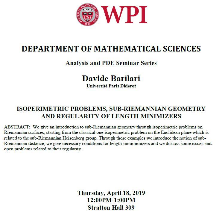 David Barilari Analysis and PDE Seminar Series