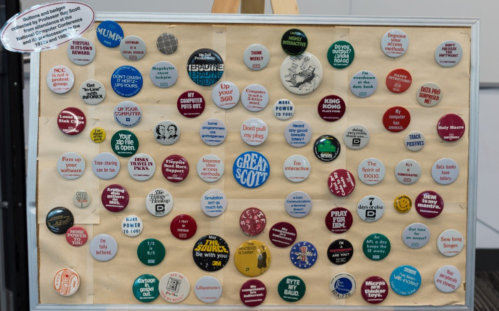 Buttons on a poster board
