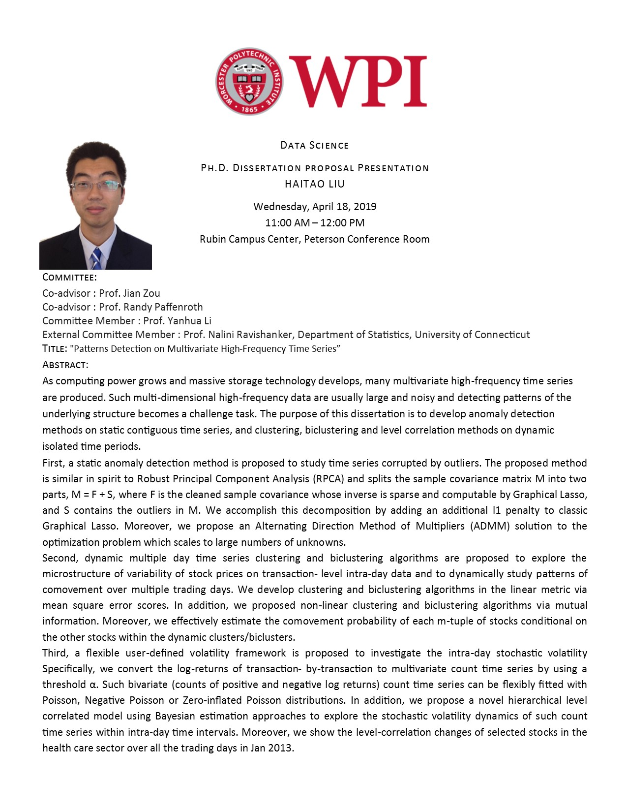 Haitao Liu Ph.D. Dissertation Proposal alt