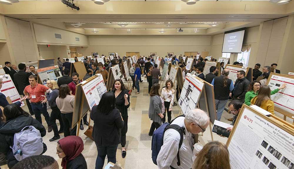 Attendees and participants gather in the Odeum for the Graduate Research Innovation Exchange, where grad students show off their research through poster presentations.