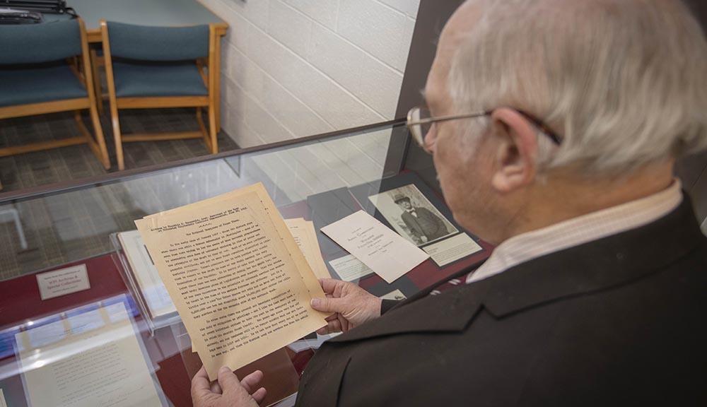 WPi history professor reading FDR speech