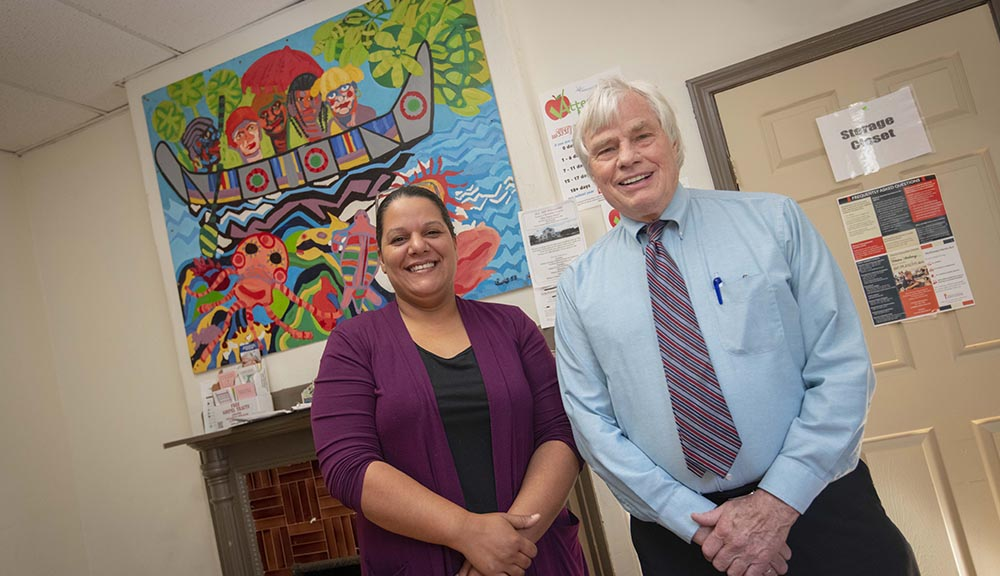 Maria DeJesus, Shelter Director at Friendly House, with Gordon Hargrove, Executive Director
