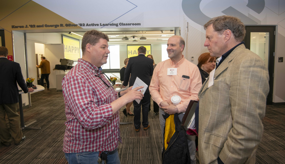 From left, TAN advisors Glenn Butler '89, Jim O'Neill '93, and Philip Faulkner are three of five advisors to the Paper Crane Project, a cloud-based enterprise software program.