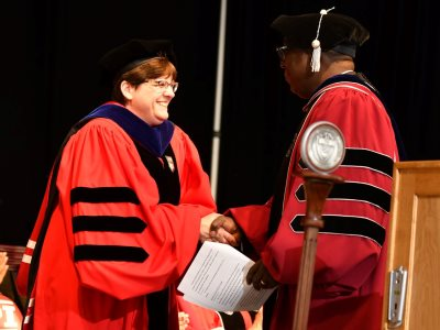 Sharon Johnson shakes hands with Provost Soboyejo alt