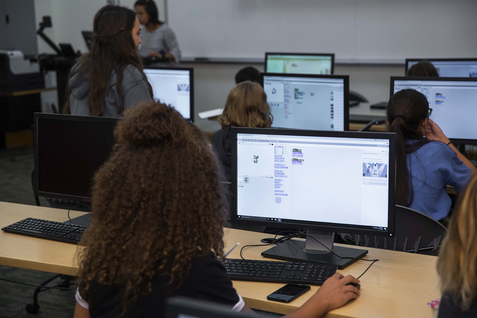 Group of students working on computers in a computer lab