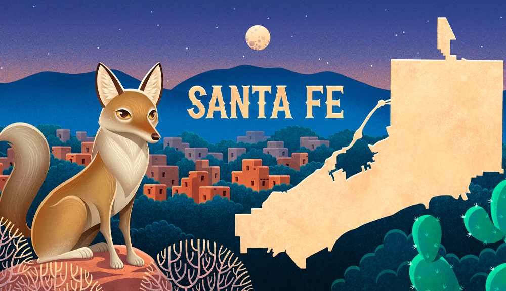 Santa Fe New Mexico illustration with Coyote in fore ground and state outline on right.
