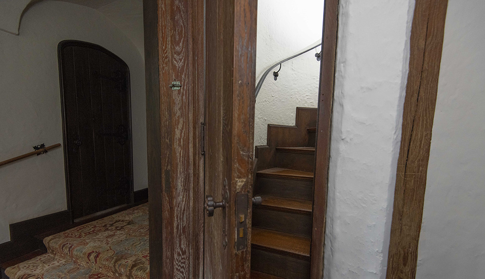 Hidden staircase in Higgins House