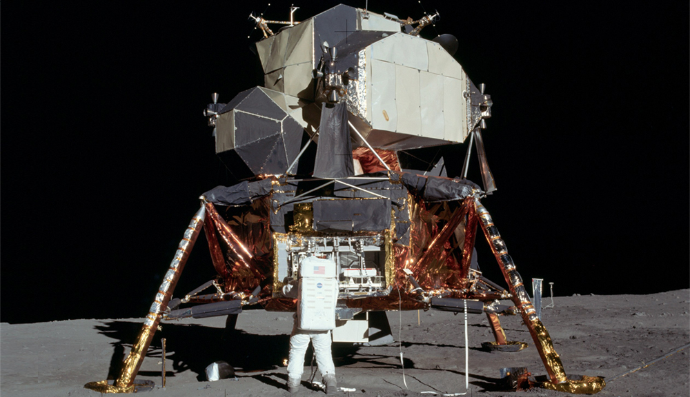 Photo of the lunar lander on the moon.