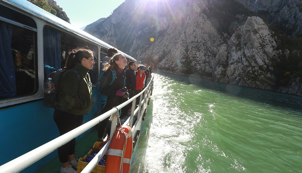 Students on a boat tour in Albania.