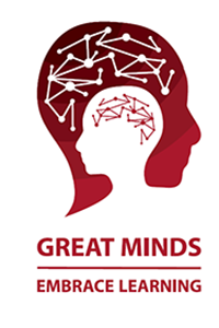 Great Minds Embrace Learning logo with illustration of a human head.
