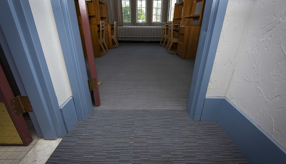 Image of new hypoallergenic carpet installed in Riley residence hall