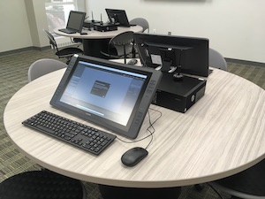tiltable graphics drawing tablet and monitor in Shuster Lab
