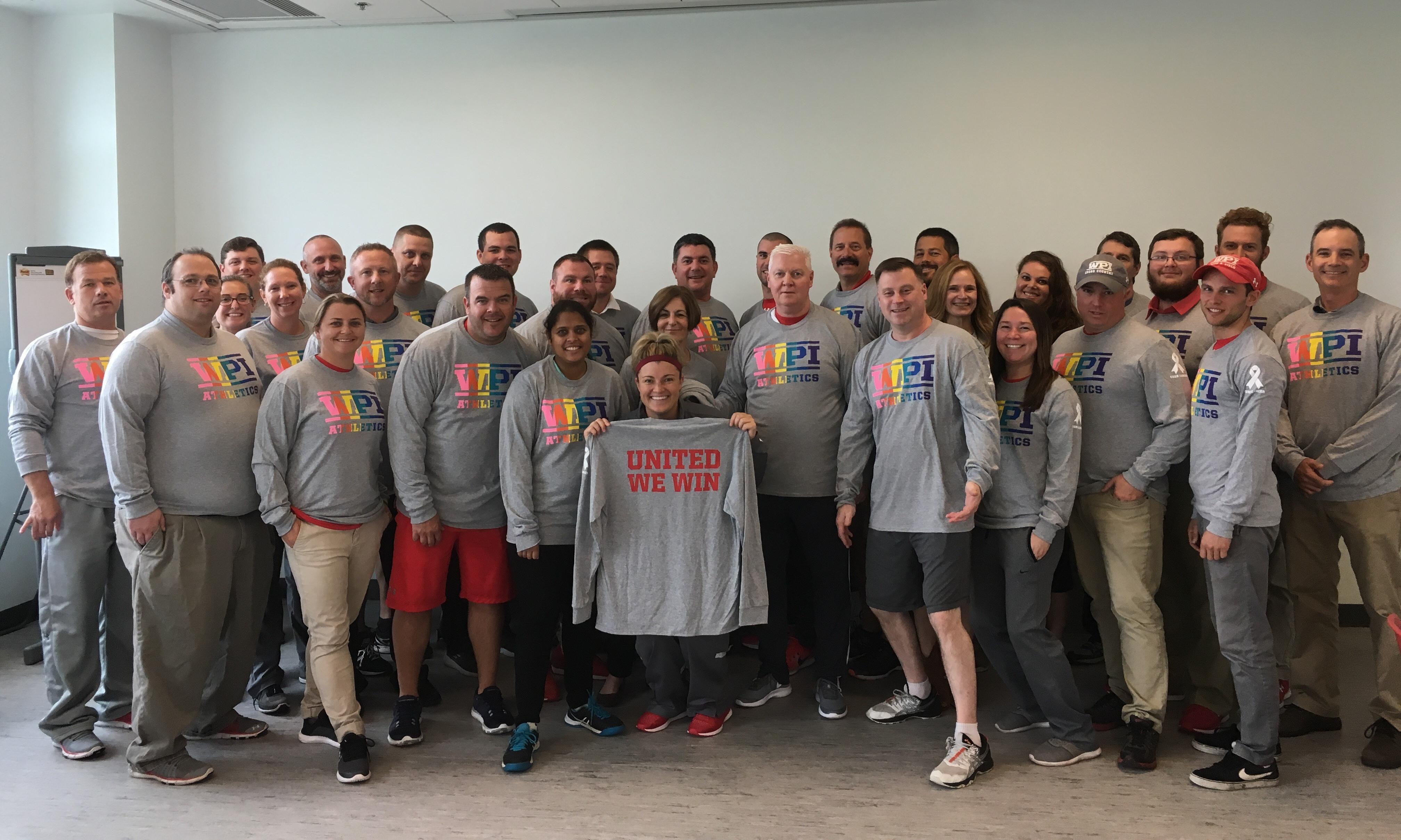 Staff sporting WPI diversity shirts