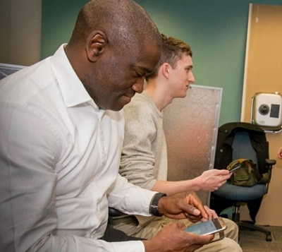 Emmanuel Agu, WPI professor of computer science, uses artificial intelligence to enhance home health care therapies.  alt