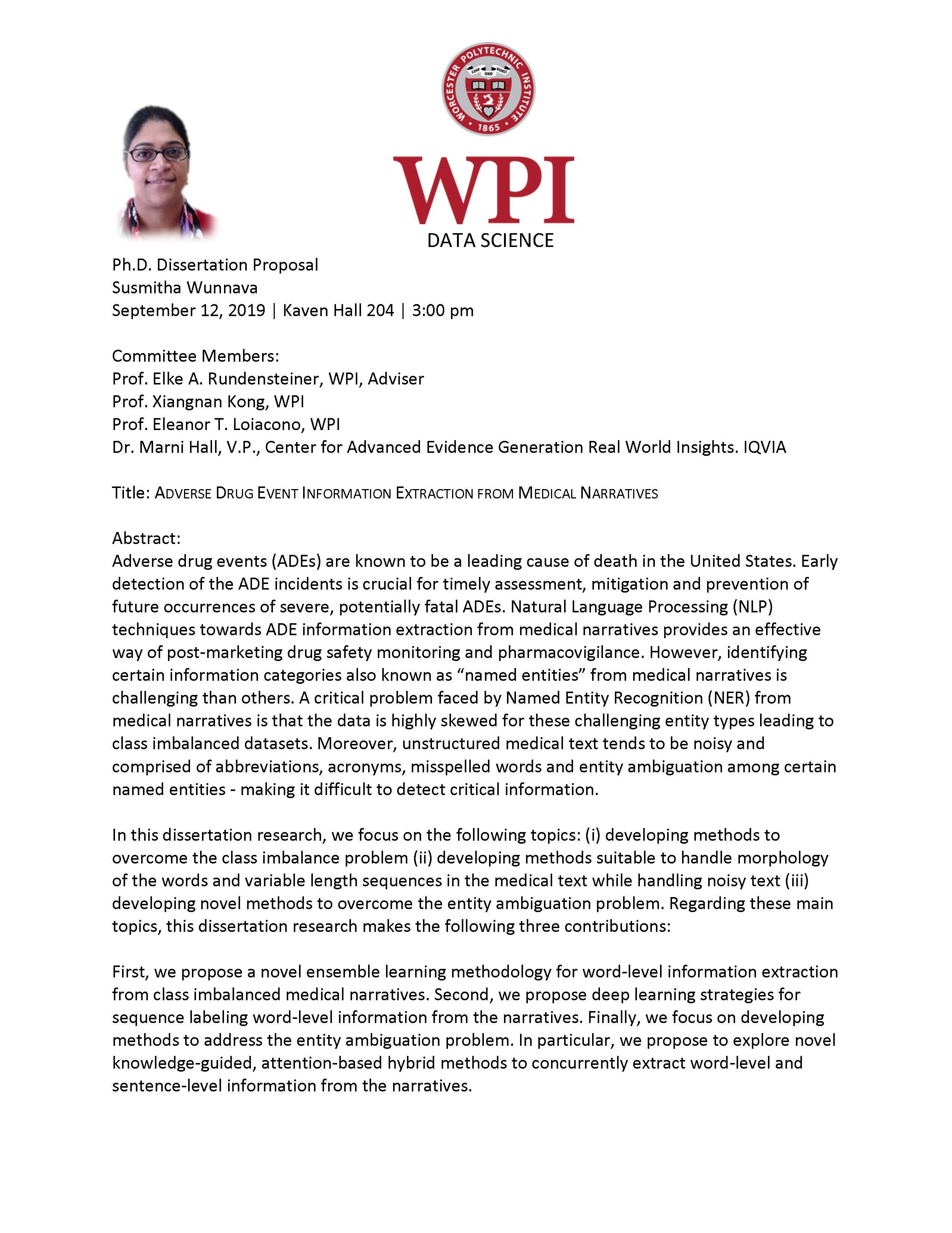 Susmitha Wunnava Ph.D. Dissertation Proposal alt