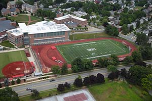 An aerial view of Alumni Field.