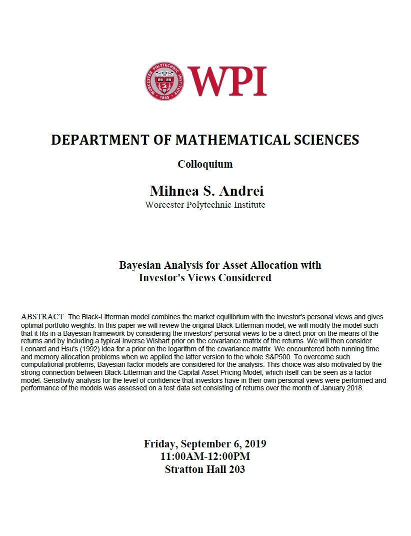 Math Colloquium Mihnea Andrei