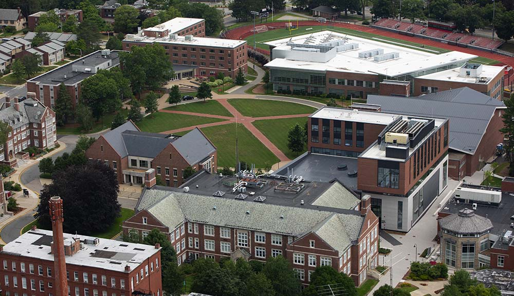 An aerial shot of campus with the Quad as the central focus.